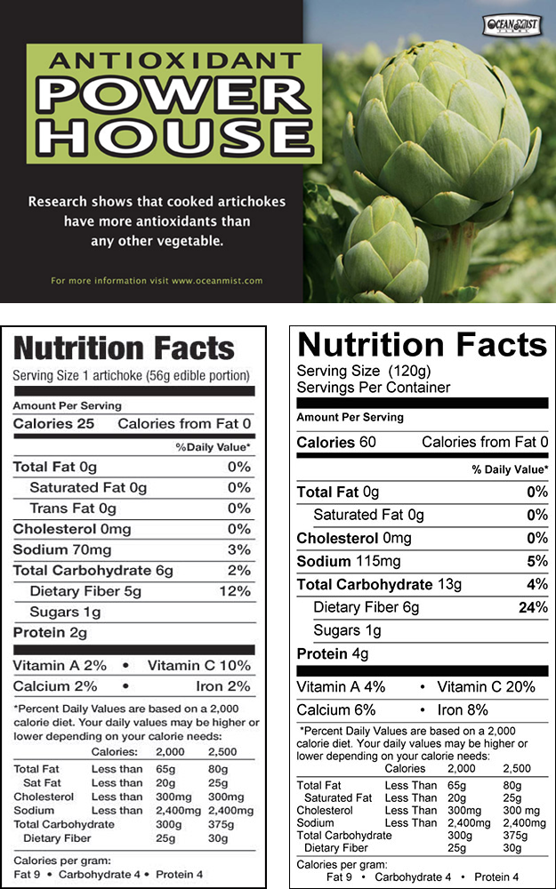 Antioxidant Power House. Click here to learn more about the health benefits of artichokes. Nutrition information for 56g and 120g artichoke.