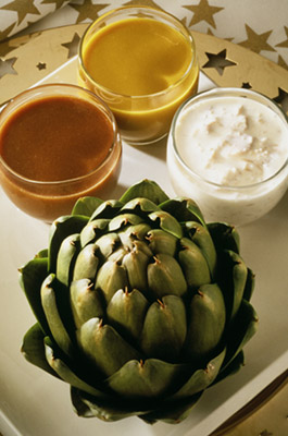 Party Artichokes with 3 Dips